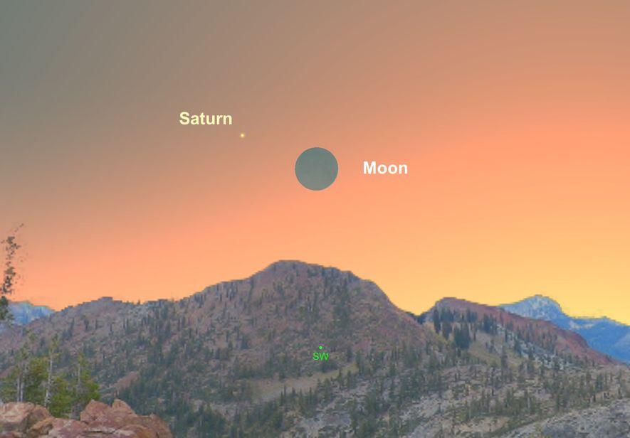 Am 8. Dezember wird die dünne Mondsichel am westlichen Nachthimmel nah am Saturn vorbeiziehen.