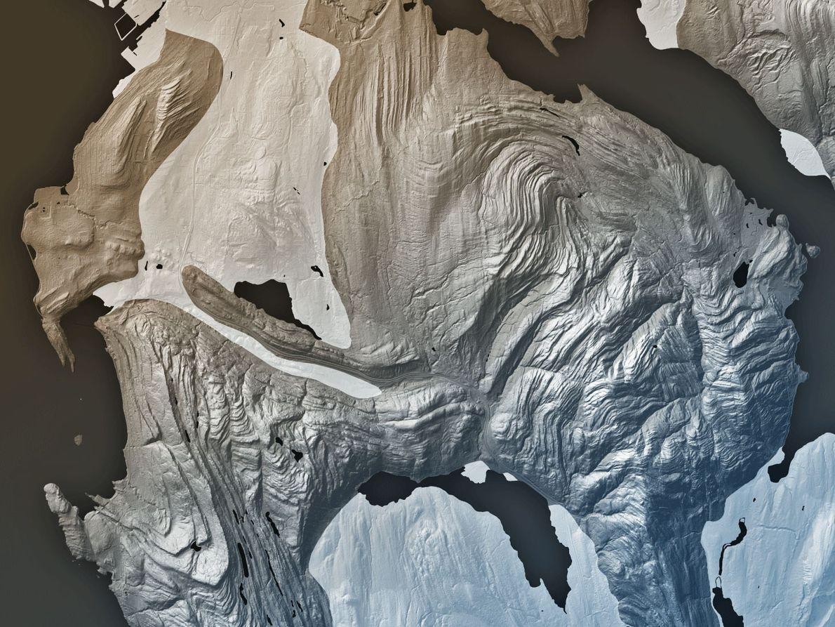 Dieser Lidar-Scan zeigt die Gesteinsschichten der Chukanut-Formation in der Nähe von Bellingham, die durch tektonische Kräfte ...