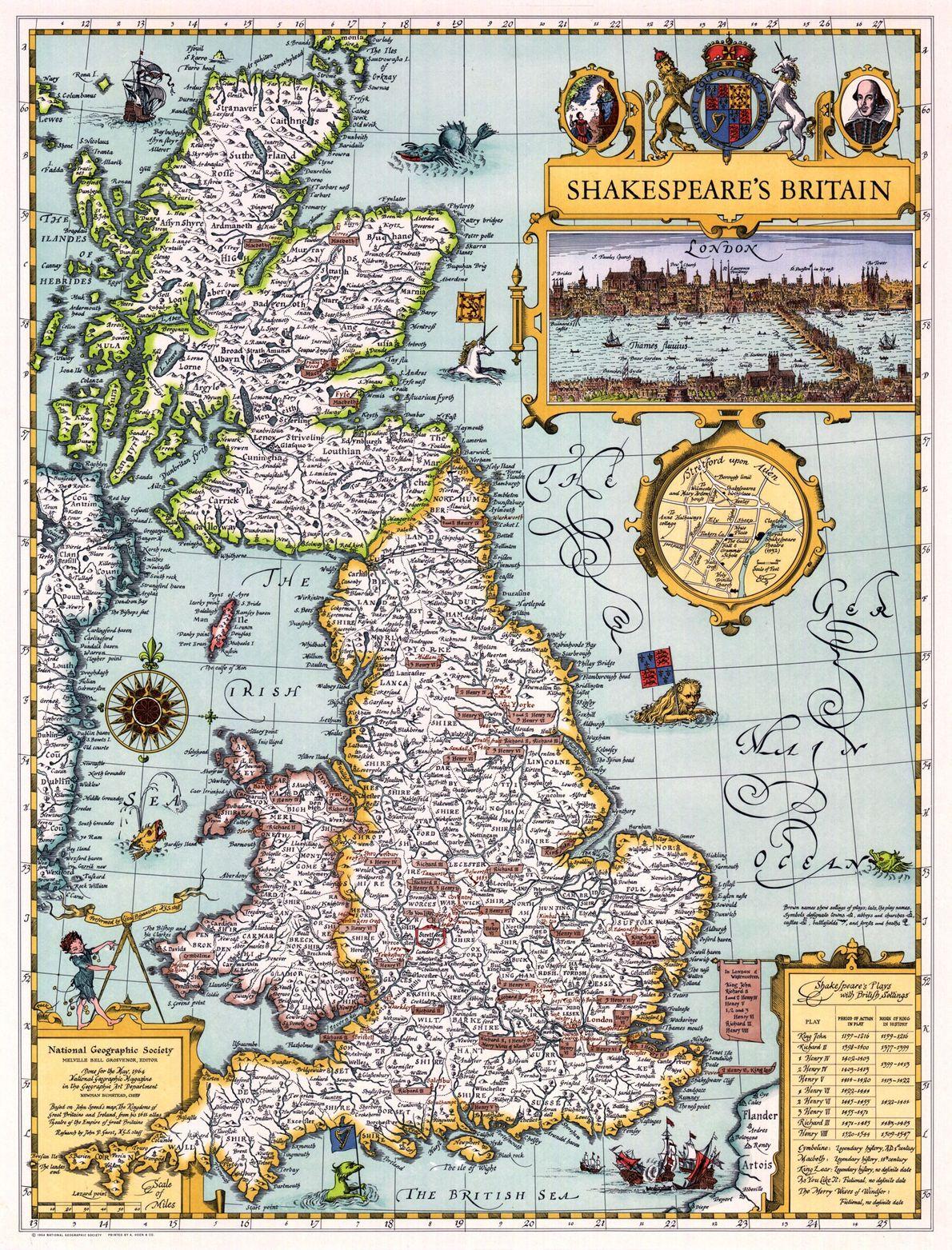 1964 SHAKESPEARES BRITANNIEN, Karte