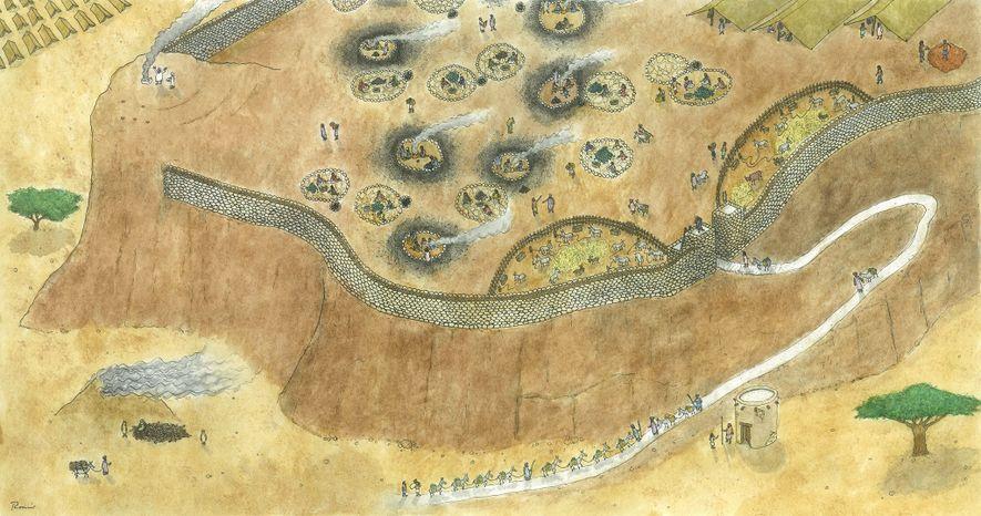 Eine künstlerische Darstellung des Bergarbeiterlagers, die auf den archäologischen Funden basiert.