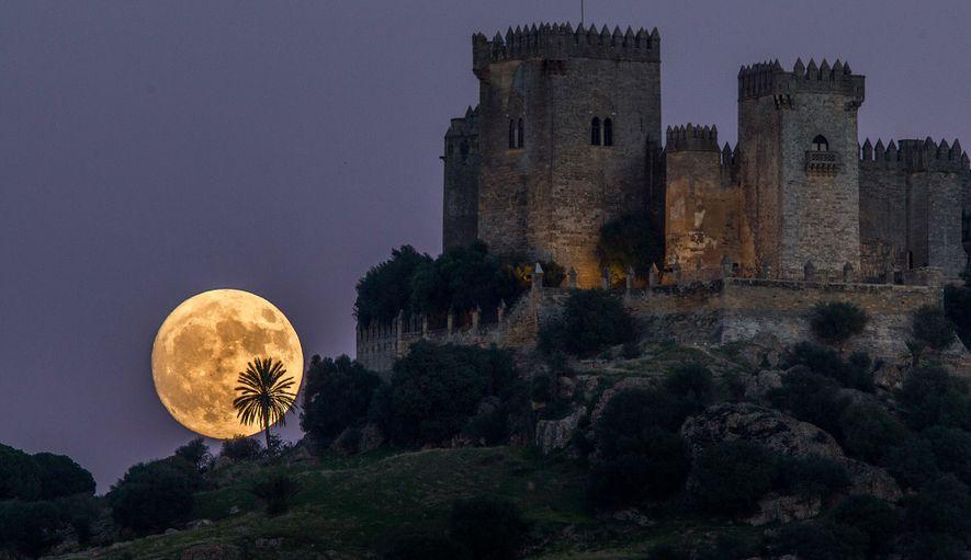 Im November 2016 geht ein Supermond in der Nähe des Schlosses Almodovar in Spanien auf.