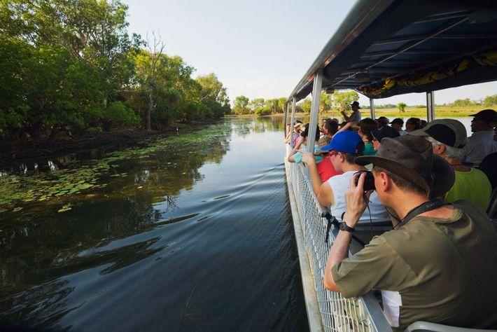 Foto von bootfahrenden Menschen in den Feuchtgebieten bei Yellow Water, Australien