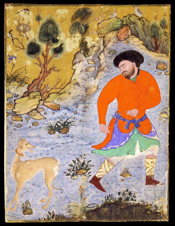 Im Mittelalter waren schlanke Windhunde – wie dieser Saluki auf einer persischen Miniaturzeichnung des 16. Jahrhunderts ...