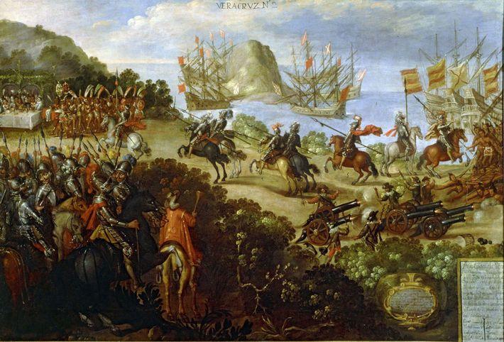 Dieses Gemälde aus dem 17. Jahrhundert zeigt das Treffen von Cortés mit den königlichen Gesandten der ...
