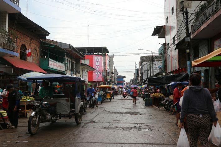 Belén-Markt im August 2021. Der Markt befindet sich in der Stadt Iquitos, der größten im peruanischen ...