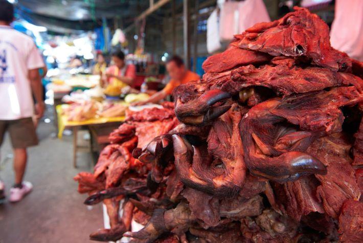 Der Handel mit wilden Tieren geht weiter, genauso wie der Verkauf von Wildtierteilen und -fleisch wie ...