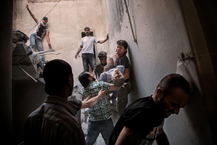 Das Viertel Bustan al Qasr in Aleppo nach einem Luftangriff