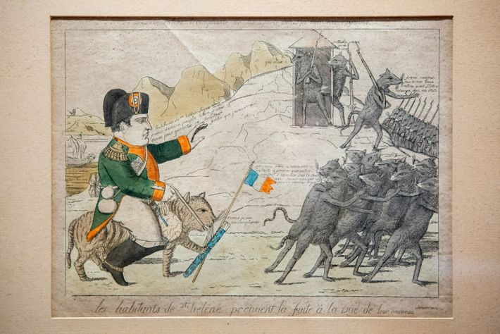 Eine Karikatur von Napoleon, die nach seinem Exil auf St. Helena in England veröffentlicht wurde, ist ...