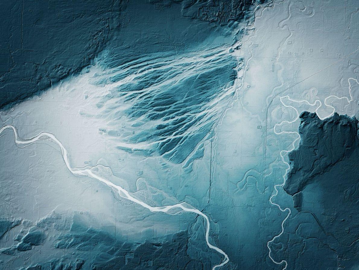 Im Nordwesten von Washington haben sich durch die Überschwemmungen der Gletscherschmelzen riesige Kanäle gebildet. Sie sind ...