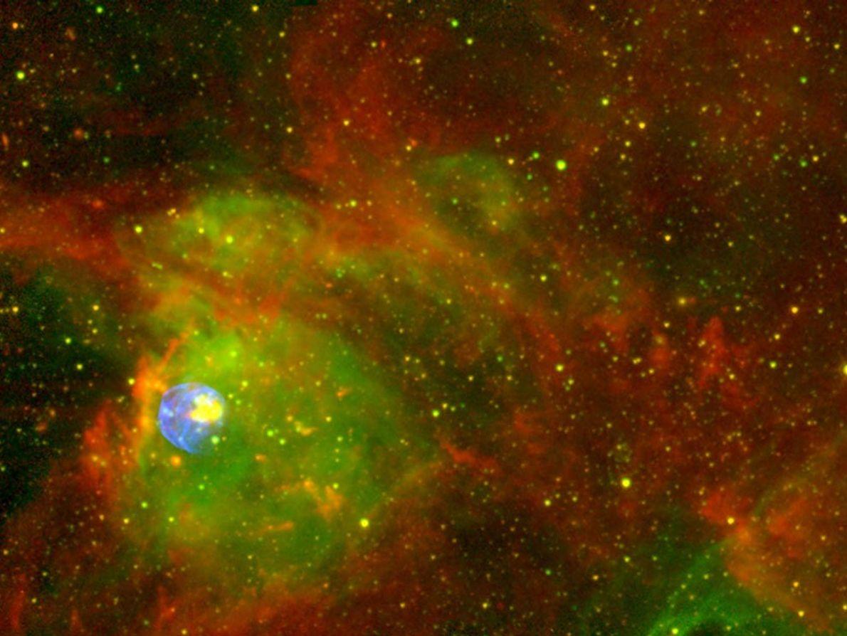 Eine gewaltige, feurige Wolke aus Gas und Staub leuchtet in diesem Supernovaüberrest. Das Objekt namens N ...