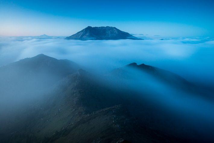 Vom Coldwater Peak aus hat man einen ausgezeichneten Blick auf den Krater des St. Helens und ...