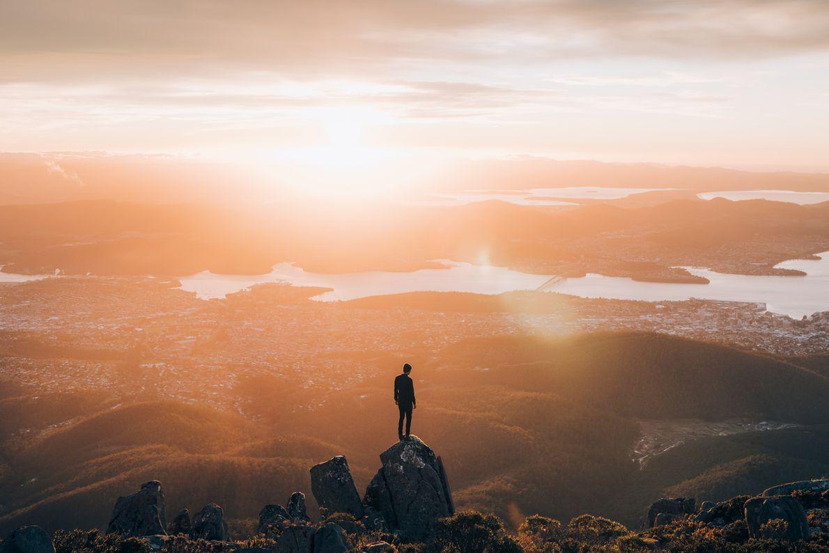 Auf dem Gipfel des Mount Wellington