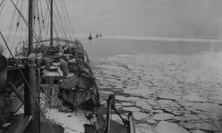1929 folgt ein Walfangschiff bei der Insel der SS Hektoria, dem Schiff der Wilkins-Hearst-Expedition.