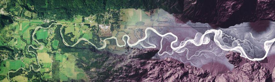 Der Fluss Cowlitz im Südwesten von Washington ist auf dieser Luftaufnahme zu sehen, die zum rechten ...