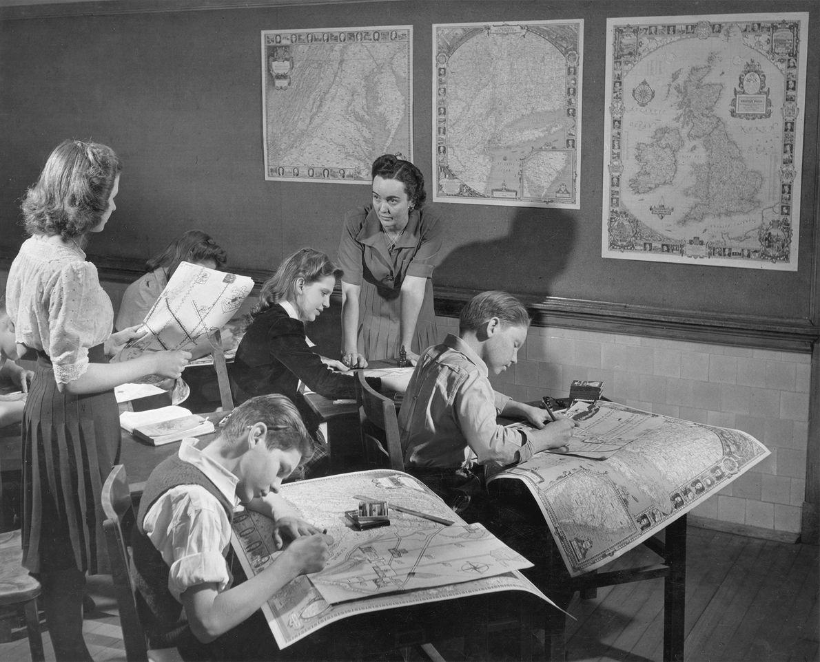 In der Gordon Junior High School in Washington, D.C., lernen die Schüler, wie man Karten zeichnet.