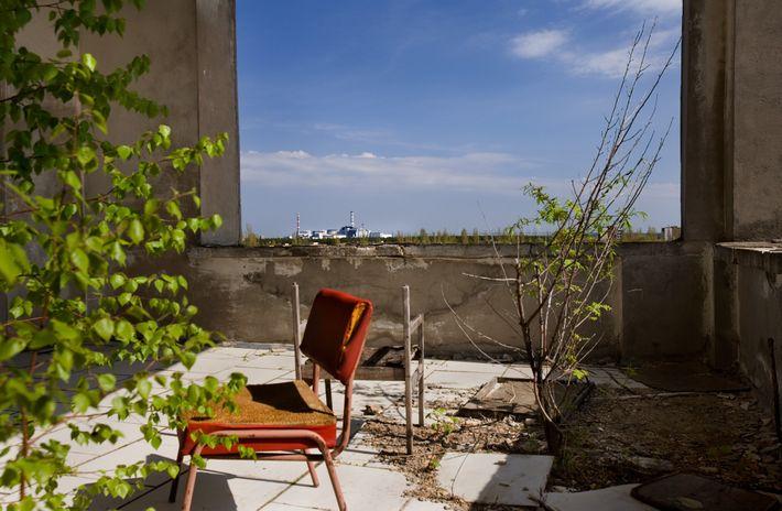 Blick auf Kraftwerk von Tschernobyl