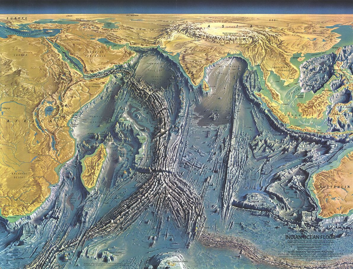 1967 MEERESBODEN DES INDISCHEN OZEANS, Karte
