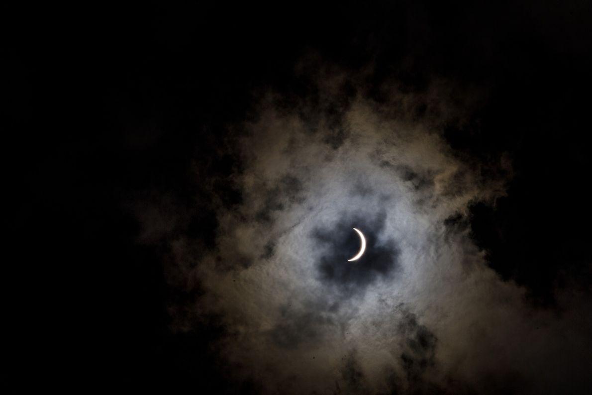 Sonnenfinsternis. Aufgenommen in Cross, South Carolina.