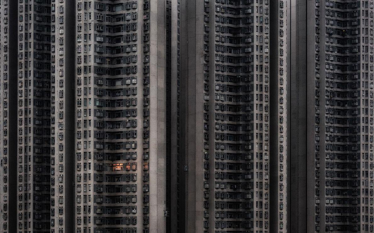 Ein Hochhaus-Wohnkomplex in Hongkong