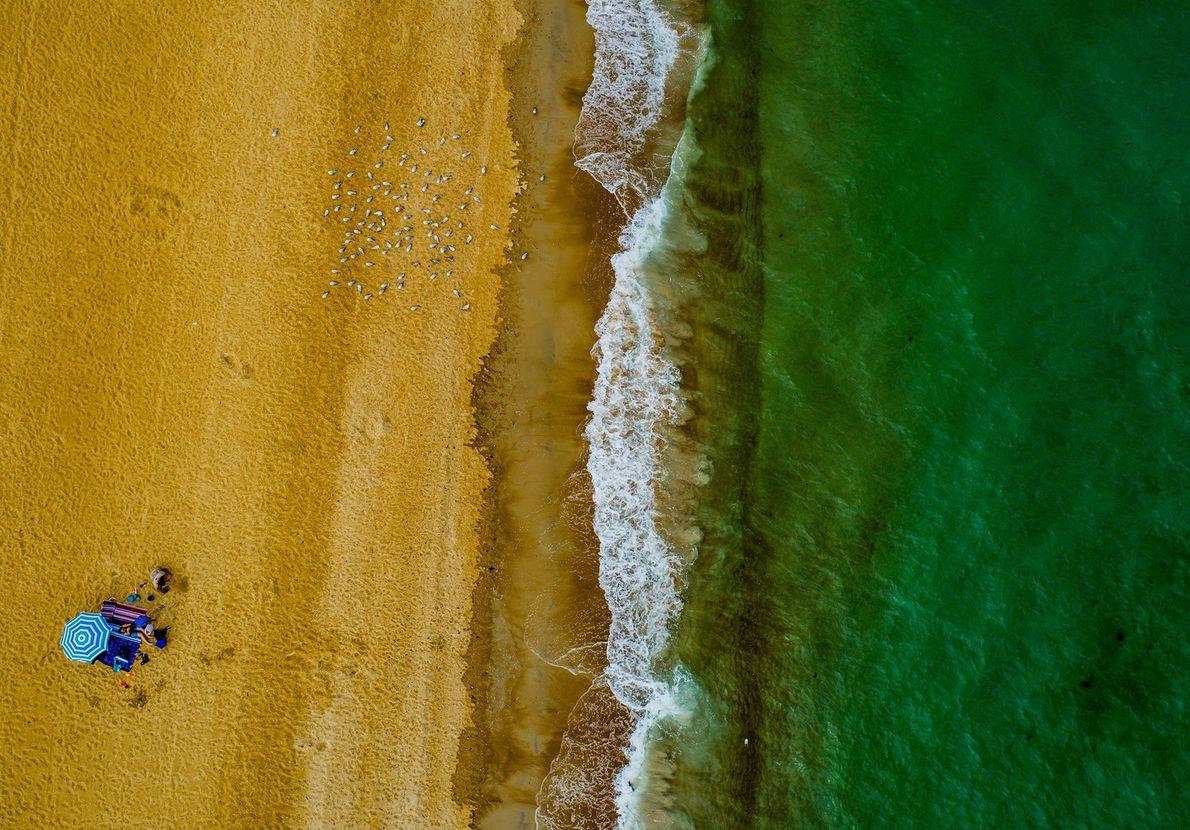 Goldener Sand und grünes Wasser in Australien