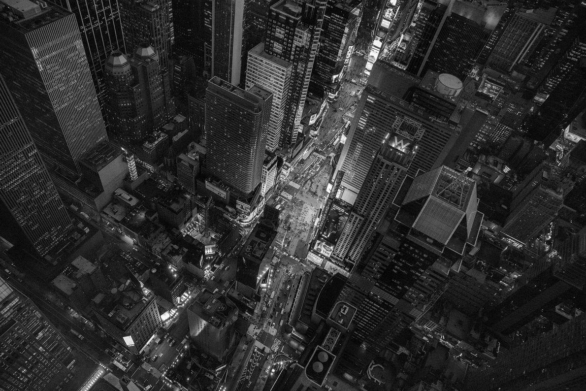 Der Times Square in New York City von oben