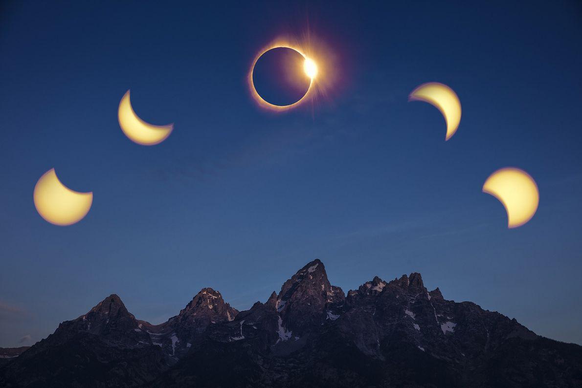 Eine Zusammenstellung verschiedener Phasen der Sonnenfinsternis über Teton Range. Anmerkung der Redaktion: Dieses Bild ist aus zwei ...