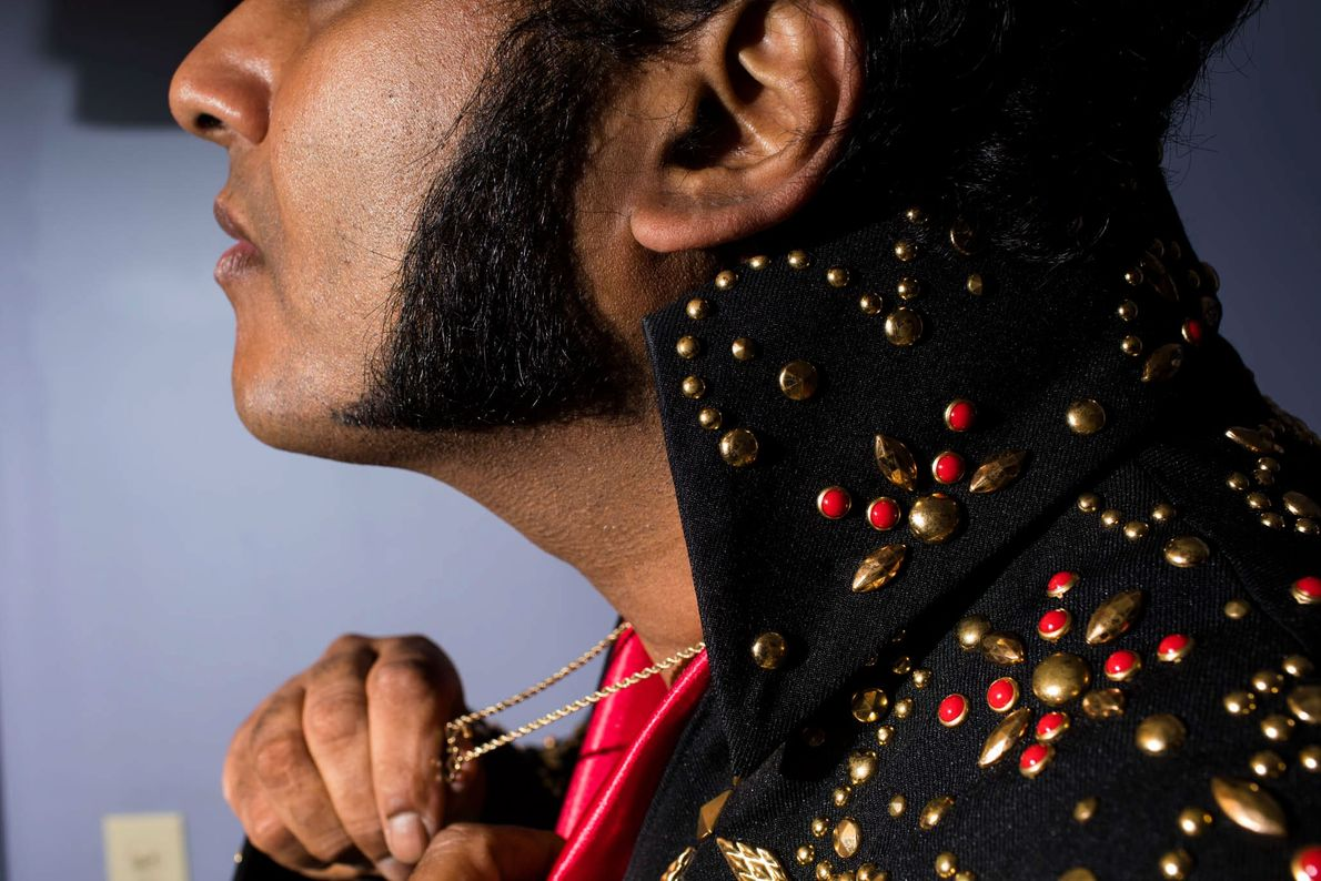 """Muj Mukhtar, who goes by the moniker, """"Muj Presley,"""" a Muslim Elvis tribute artist from the ..."""