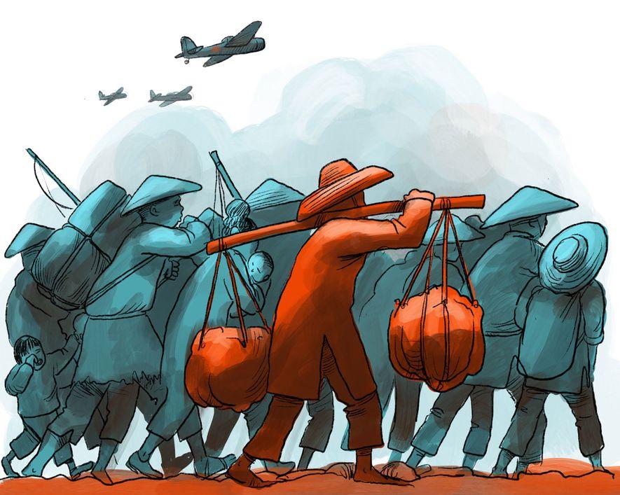 1937: Als sich die japanischen Streitkräfte zu Beginn des Zweiten Japanisch-Chinesischen Kriegs Hongkong nähern, fliehen Tausende ...