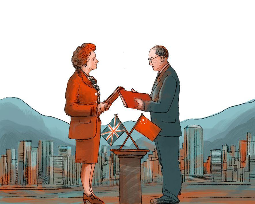 1984: Die britische Premierministerin Margaret Thatcher und Chinas Premierminister Zhau Ziyang unterzeichnen eine Erklärung über die ...