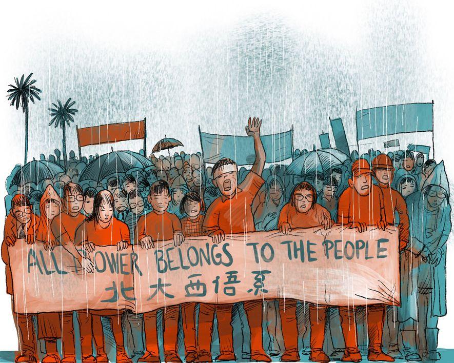 1989: In Hongkong demonstrieren mehr als eine Million Menschen gegen das Tian'anmen-Massaker an der demokratischen Protestbewegung ...