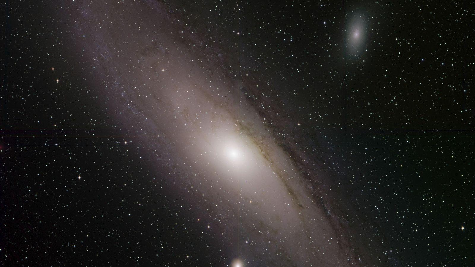 Die Andromedagalaxie, auch bekannt als Messier 31, strahlt in dieser neu veröffentlichen Aufnahme von der Zwicky ...
