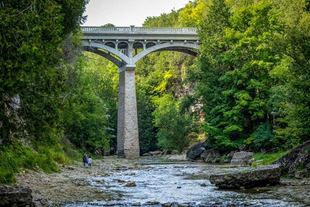 Im Elora Gorge können Besucher direkt neben dem Irvine Creek wandern und dabei auch unter der ...