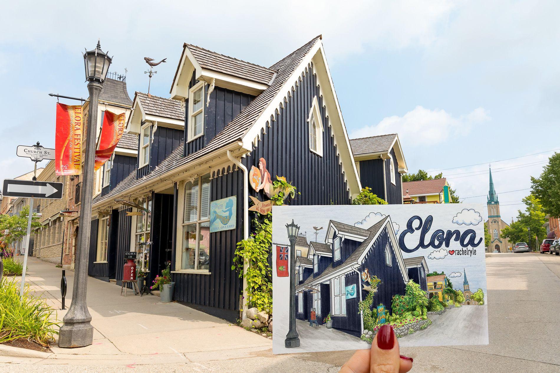 Künstlerisch eingefangen: Das Mermaid in Elora, ein Antiquitätenladen in der kleinen Stadt am Grande River.
