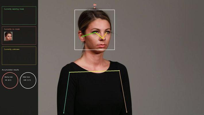 Die Klassifizierungs-Algorithmen entscheiden, ob der Bildausschnitt des Gesichts eine Maske enthält. Dieser Vorgang wird während einer ...