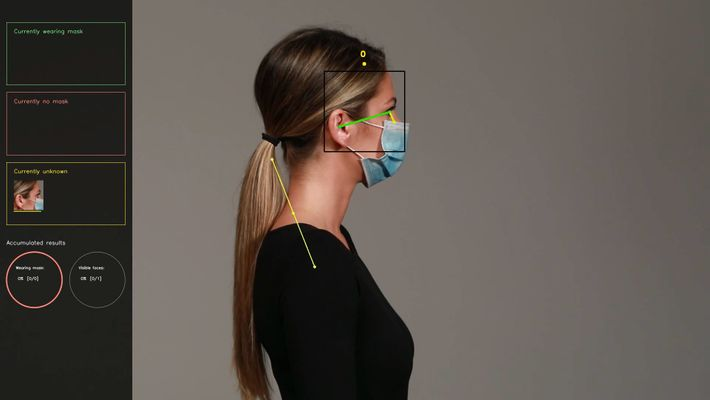 Die Haltungs-Algorithmen zeichnen Körperteile und deren Positionen mit farbigen Linien nach. Sobald ein Kopf lokalisiert ist, ...
