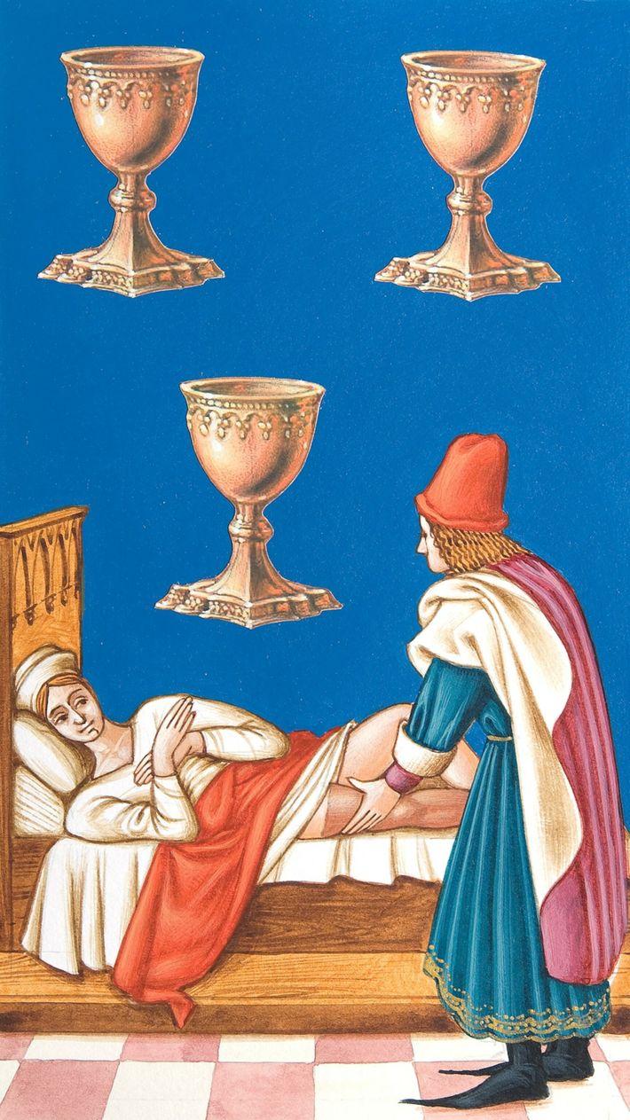 Mittelalterliche Tarotkarte Drei Kelche
