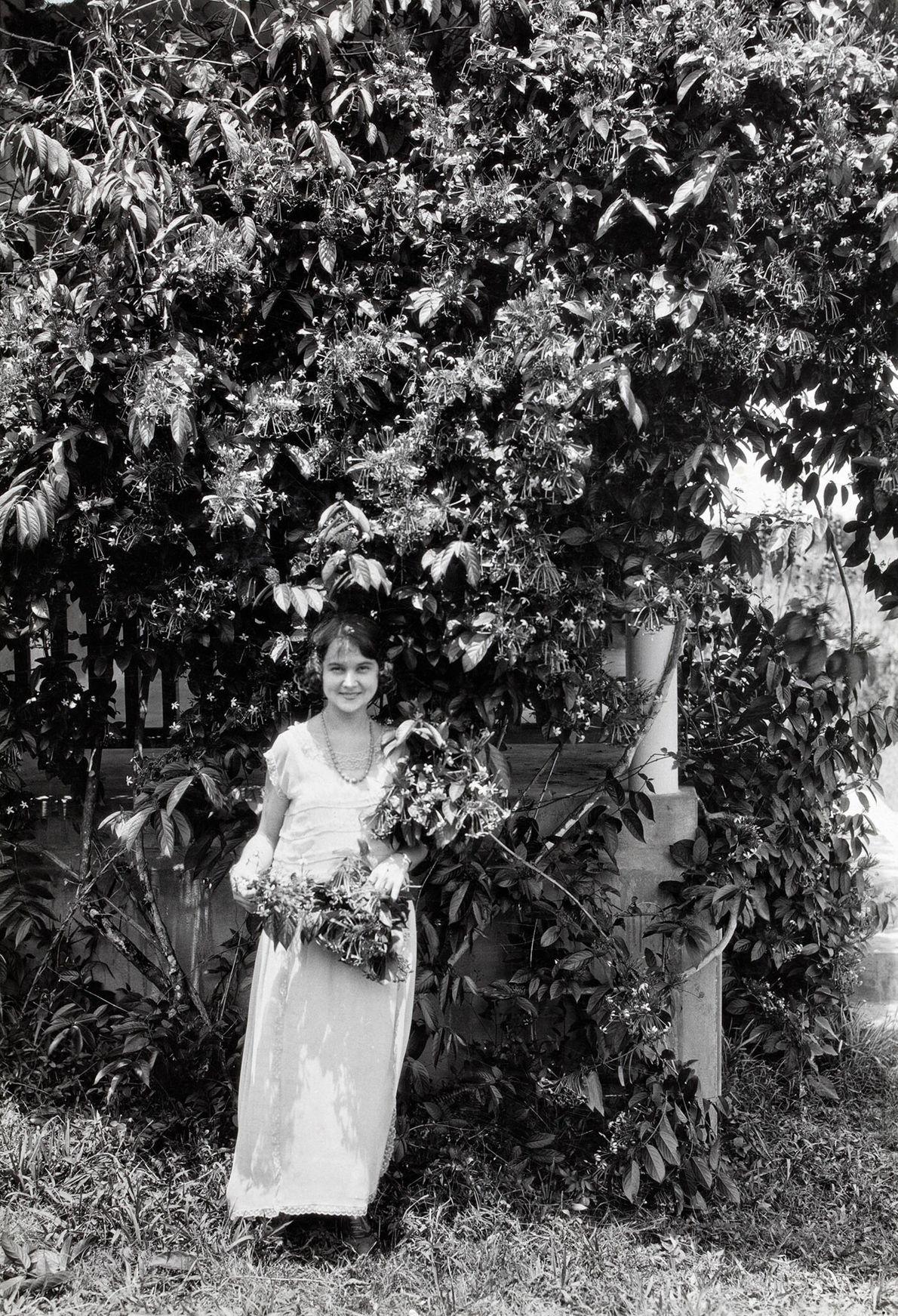 Die Malteserkreuzblume (Ixora coccinea) zählt zu den einheimischen Arten von Puerto Rico. Hier posiert ein junges ...