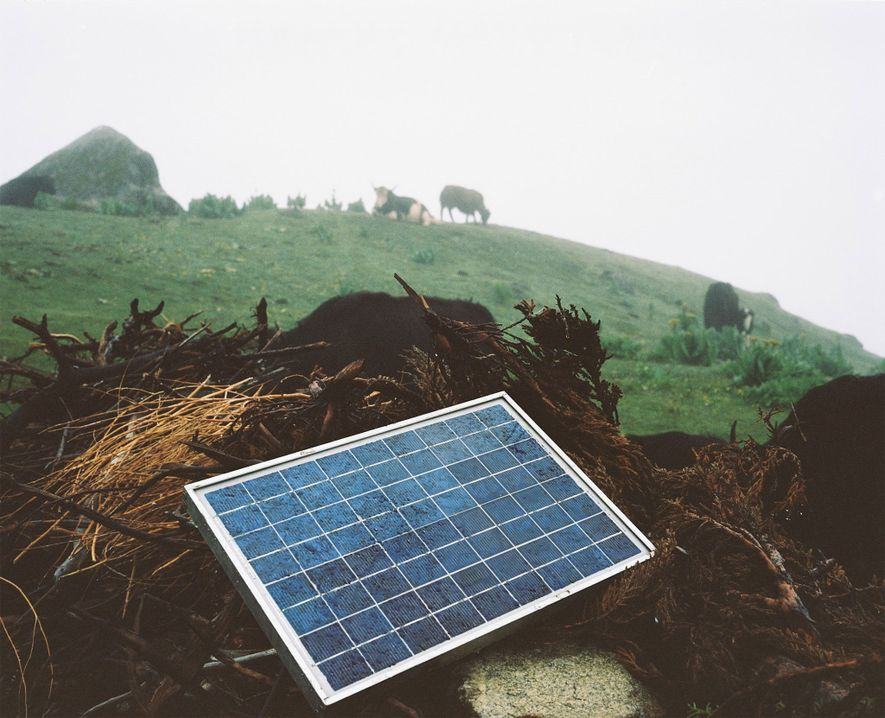 Solar panels are used to charge mobile phones, which weren't available in Laya until late 2009.