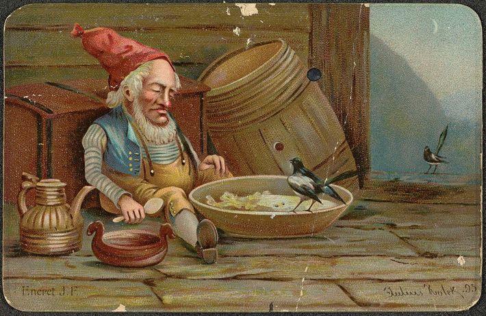 Diese Illustration des norwegischen Künstlers Julius Holck aus dem Jahr 1895 zeigt einen Nisse, der seinen ...