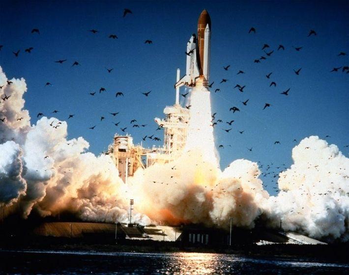 Aufgeschreckte Vögel fliegen davon, als das Space Shuttle Challenger auf einer riesigen Rauchwolke aufsteigt. Nur wenige ...