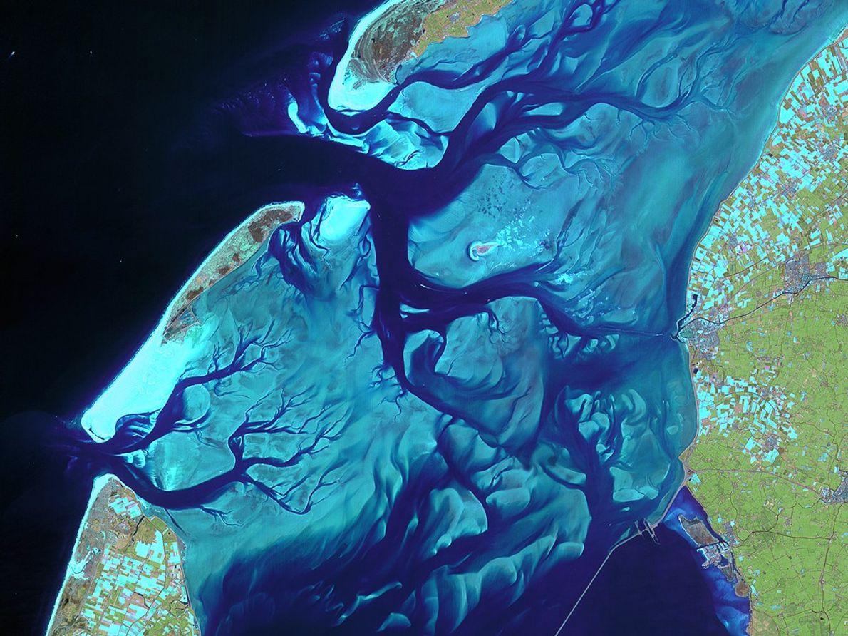 Kanäle schlängeln sich durch die Sandbanken des Wattenmeeres