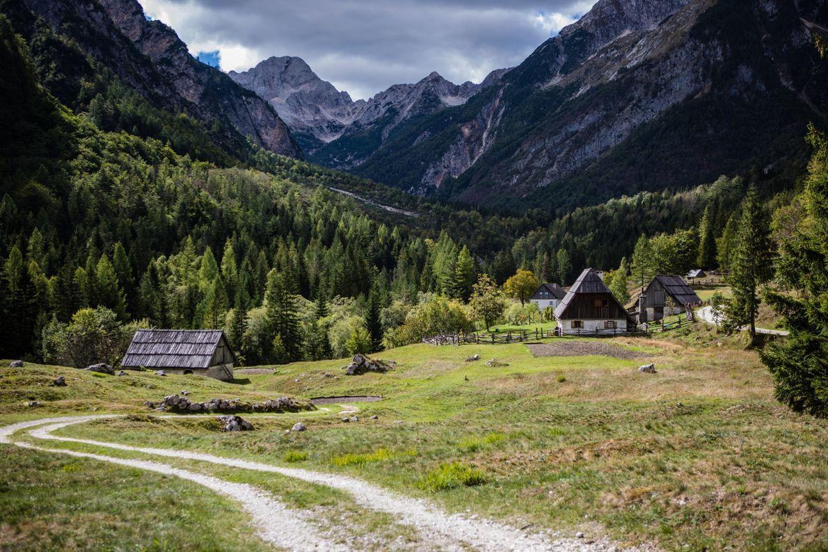 Traumhaft idyllisch ... Trenta ist für diese Häuser mit ihren traditionellen Holzschindel-Dächern berühmt.