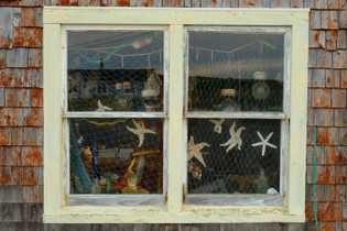 Im Fenster des Buoy Shop in Peggy's Cove hängen Fischernetze und Seesterne.