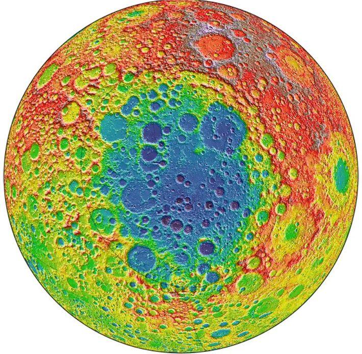 Auf diesem Bild des Lunar Reconnaissance Orbiter der NASA befindet sich das Südpol-Aitken-Becken im Mittelpunkt, der ...