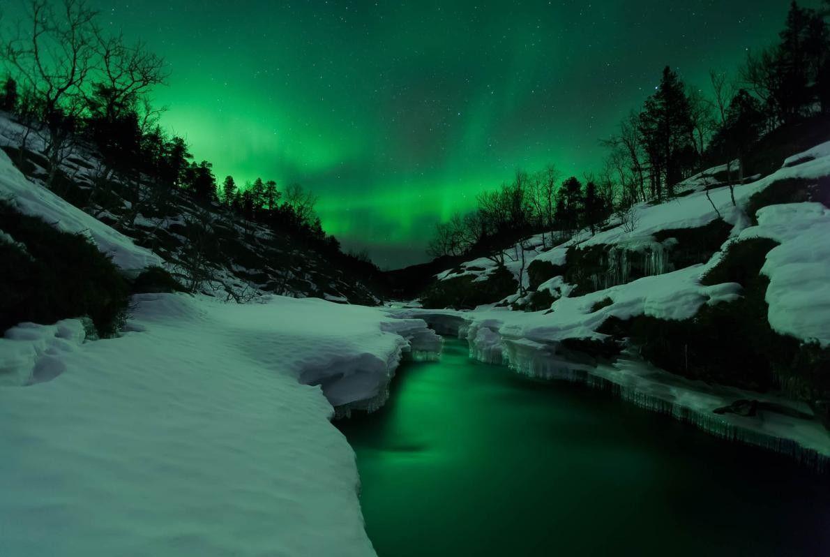 Polarlicht über Fluss Tennevik