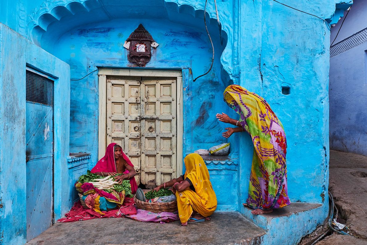 Women in Jodhpur, Rajasthan, wear tie-dyed Bandhani style saris typical of the region. They are made ...