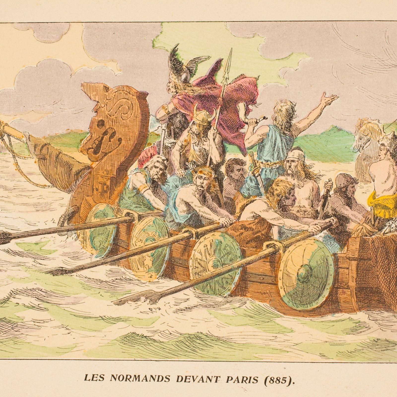 Wikinger auf dem Weg nach Paris: gemalte Darstellung aus dem 19. Jahrhundert