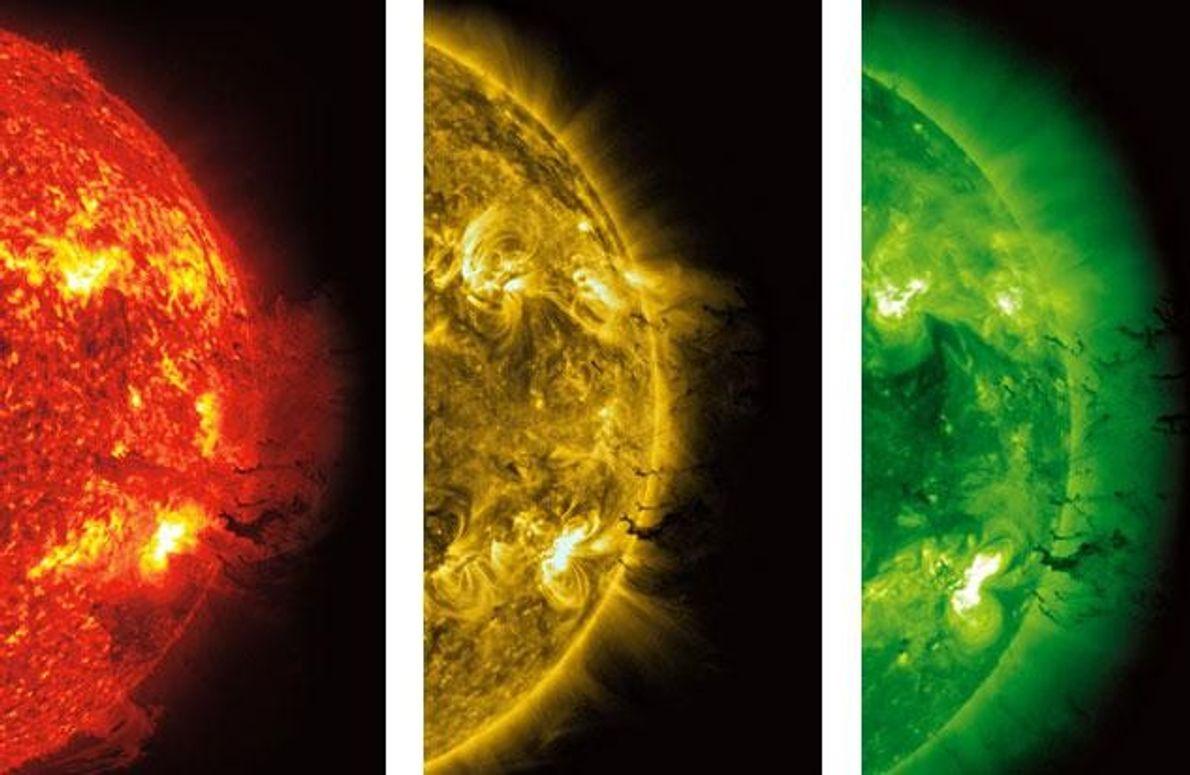 Das Sonnenobservatorium der Nasa hält in verschiedenen Lichtwellenlängen eine starke Eruption in der Korona fest (auf …