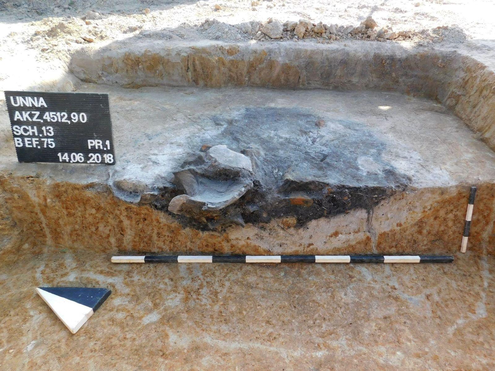 In dieser Grube sind besonders große Keramikscherben eines Gefäßes aus der Eisenzeit erhalten.