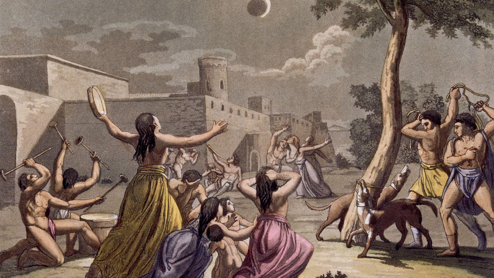 Die Inka glaubten, dass eine Mondfinsternis den Angriff eines Jaguars auf den Mond darstellte. Sie versuchten, ...
